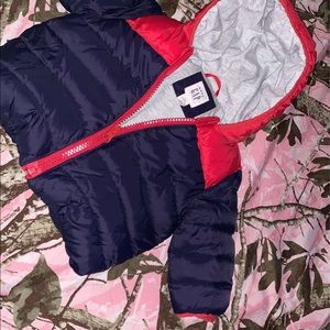 Infant winter red and dark blue bubble jacket